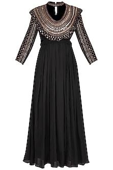 Black Embroidered Pleated Kurta Set by Neha & Tarun