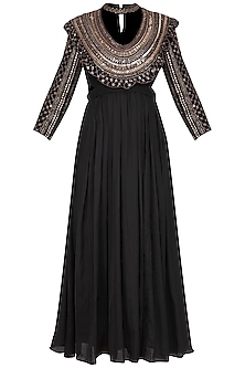 Black Embroidered Pleated Kurta Set by Neha & Tarun