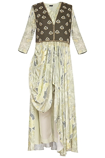 Light Green Embroidered Printed Drape Kurta With Pants & Jacket by Neha & Tarun