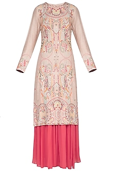 Natural Beige Embroidered Sharara Set by Neha & Tarun