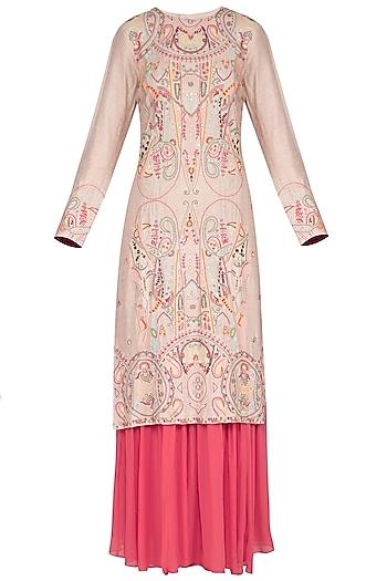 Natural Beige Embroidered Sharara Set by Neha & Tarun