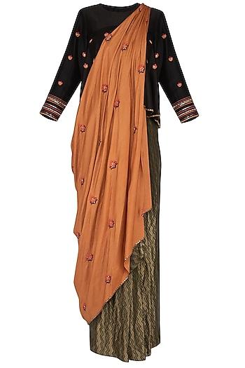 Rust Embroidered Drape Saree by Neha & Tarun