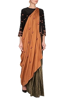 Rust Embroidered Drape Saree by Neha & Tarun