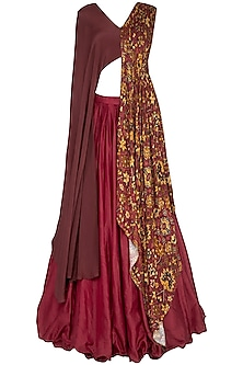Red Plated Lehenga Skirt With Drape Blouse by Neha & Tarun