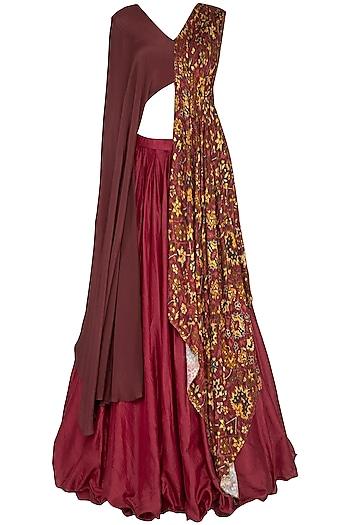 Red Plated Lehenga Skirt With Drape Blouse by Neha & Tarun