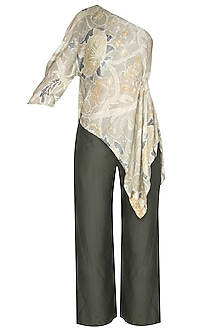 Light Green Printed Top With Pants by Neha & Tarun
