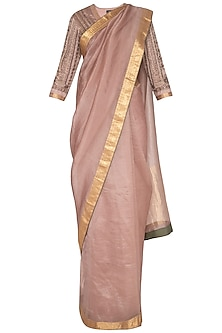 Onion Pink Embroidered Saree Set by Neha & Tarun