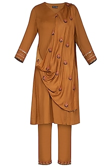 Rust Embroidered Drape Kurta Set by Neha & Tarun