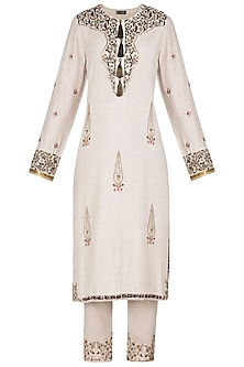 Beige Embroidered Kurta Set by Neha & Tarun