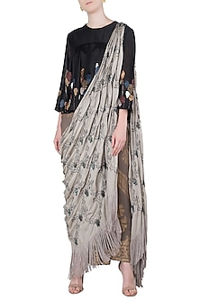 Multi-Coloured Embroidered Fringes Drape Saree Set by Neha & Tarun