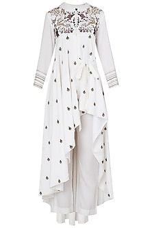 Ivory Embroidered Asymmetrical Side Knot Kurta Set by Neha & Tarun
