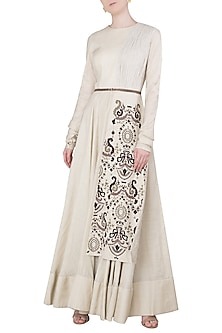 Biege Embroidered Panel Gown by Neha & Tarun
