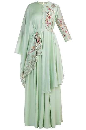 Spring green embroidered gown by NEHA & TARUN