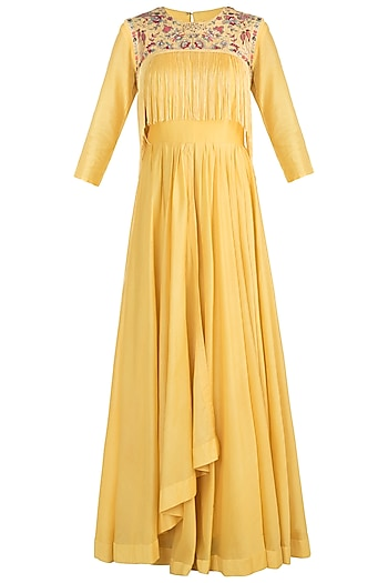 Yellow embroidered anarkali with jacket by NEHA & TARUN