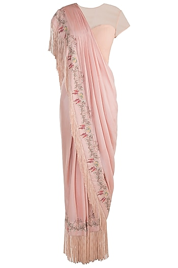 Peach embroidered drape saree by NEHA & TARUN