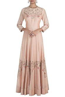 Peach embroidered gown with dupatta by NEHA & TARUN
