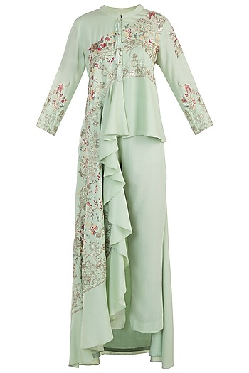 Spring green embroidered cowl kurta with pants by NEHA & TARUN
