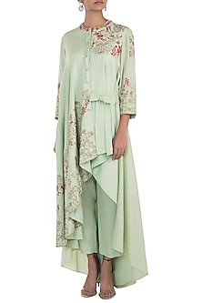 Spring green embroidered drape kurta with pants by NEHA & TARUN