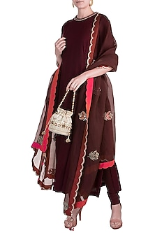 Maroon Embroidered Kurta Set by Nidhi Agarwal
