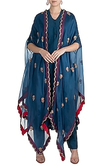 Blue Embroidered Kurta With Pants & Jacket by Nidhi Agarwal
