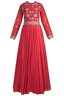 Red Embroidered Anarkali Kurta With Pink Dupatta by Nidhi Agarwal