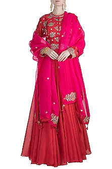 Red Embroidered Anarkali Kurta With Pink Dupatta by Nidhi Agarwal