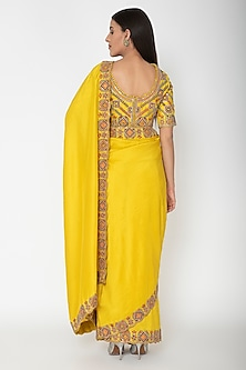 Yellow Hand Embroidered Saree Set by Nidhi Agarwal