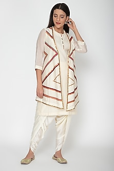 Off White Embroidered Dhoti Kurta Set by Nidhi Agarwal