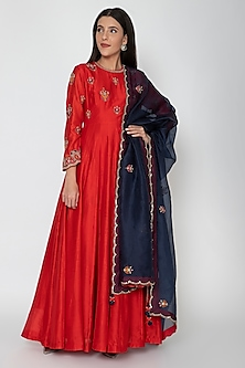 Red & Navy Blue Embroidered Anarkali Set by Nidhi Agarwal