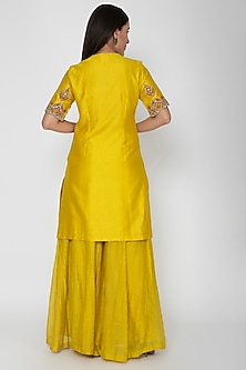 Yellow Hand Embroidered Sharara Set by Nidhi Agarwal