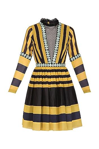 Yellow & Black Embellished Striped Mini Dress With Belt by Nitya Bajaj
