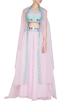 Aquamarine & Lilac Embroidered Sharara Set With Cape by Nitya Bajaj