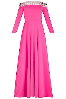 Hot Pink Embellished Off Shoulder Gown by Nitya Bajaj