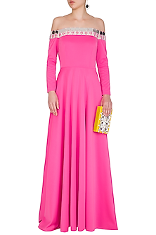 Hot Pink Embellished Off Shoulder Gown by Nitya Bajaj