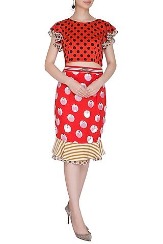 Red Polka Dot Crop Top With Pencil Skirt by Nitya Bajaj