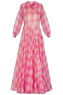 Hot Pink Checkered Maxi Dress by Nitya Bajaj