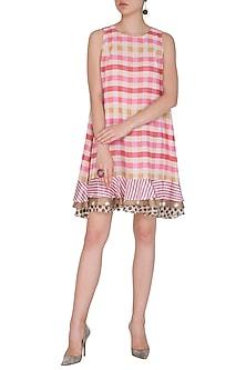 Hot Pink Checks Printed Flared Dress by Nitya Bajaj
