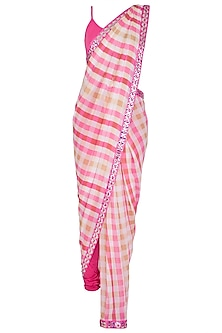 Hot Pink Checkered Print Pant Saree Set by Nitya Bajaj
