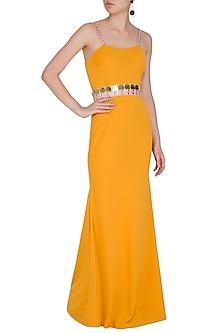 Mango Yellow Lycra Knit Gown by Nitya Bajaj