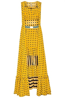 Yellow Polka Dot Bustier With Skirt & Cape by Nitya Bajaj
