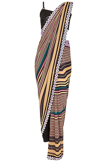 Black Striped Pant Saree Set by Nitya Bajaj