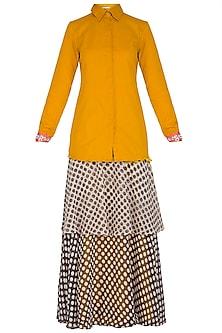 Mustard Yellow Shirt With Tiered Skirt by Nitya Bajaj