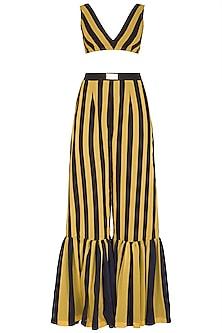 Yellow Striped Sharara Set by Nitya Bajaj