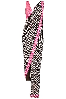 Black & Pink Embellished Pant Saree Set by Nitya Bajaj