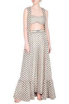 Ivory Polka Dot Bralette With Palazzo Pants & Cape by Nitya Bajaj
