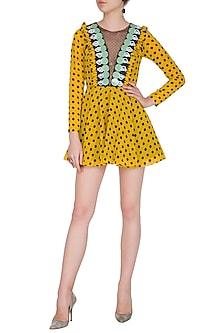 Yellow Polka Dot Skater Dress by Nitya Bajaj