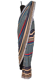 Black Striped Georgette Pant Saree Set by Nitya Bajaj