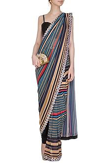 Black Striped Georgette Pant Saree Set by Nitya Bajaj