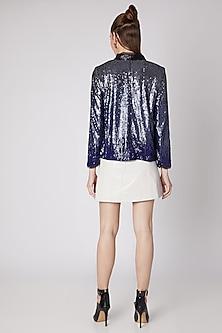 Cobalt Blue Sequins Embroidered Jacket by Nipa Badiani