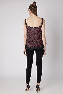 Maroon Sequins Embroidered Top by Nipa Badiani